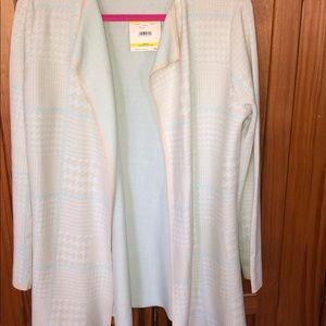 Anne Klein open front cardigan,Ivory/ multicolor
